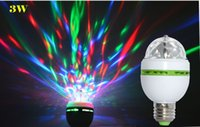 Wholesale Christmas E27 W RGB LED stage light disco ball full color projector crystal magic ball DJ dace circular rotating lamp