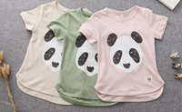 animal print tunic - 2016 Kids Baby Clothing Girls T Shirt Cotton short Sleeve Tunic Top Cartoon Panda Print Children Outerwear BH2152
