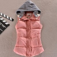 Wholesale women s cotton wool collar hooded down vest Hot high quality Brand New female winter warm Jacket Outerwear