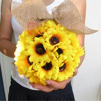 Wholesale 10 Inch Sunflower Kissing Ball flower in yellow decorate flowers artificial flower for wedding garden party gift decoration fake silk flower