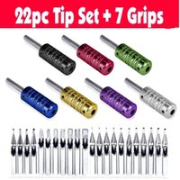 alloy steel tubes - 7 color ribbed Tattoo Aluminum alloy Machine Grips Tubes Back Stem W S S tips kit