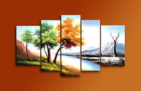 autumn tree paintings - Hand Painted Mordern Oil Paintings Autumn Winter Trees Landscape Panels Wood Inside Framed Hanging For Home And Wall Decoration