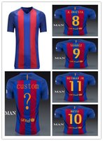 El envío de DHL 16-17 MESSI, neymar jr, Suárez, piqué, jersey de fútbol A.Iniesta versión del reproductor calidad de Tailandia 16-17 Messi camiseta de fútbol
