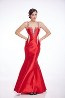 Wholesale Sexy Elegant Red Mermaid Formal Women Evening Dresses Satin Floor Length Backless Illusion Beadingd Exquisite Party Gowns