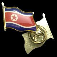 Wholesale 2 The National Flag of North Korea Emblem Gold Plated Flag Collar metal Badge