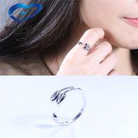 Wholesale 925 Sterling Silver Ring female leaves bud ring sterling silver plating thick platinum ring Korean jewelry custom proxy