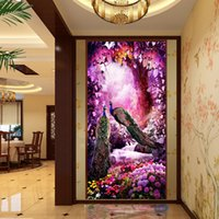 Wholesale 5D DIY Cross stitch diamond embroidery peacock Figure Crystal round stone diamond Home decorative painting