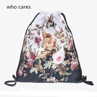 Wholesale Who Cares Classic D Printing Floral Peony Drawstring Bag Gym Backpack Women Outdoor Fashion Casual Sport Mochila Feminina Girl