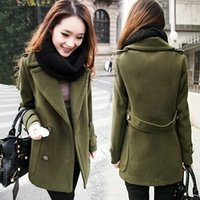 Wholesale New products Autumn Winter Women Woolen Wool Blends Slim Coat Long Sleeve Elegant Double breasted Female Outerwear Coats New2016