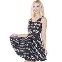 adult slogans - NEW Sexy Girl Women Summers Slogan Everybody living dead D Prints Reversible Sleeveless Skater Pleated Dress Plus Size