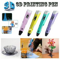Wholesale 2016Christmas gift DIY mm ABS PLA D Pen M Filament LED D Printing Pen Dauber Creative Item Gift For Kids Drawing Painting