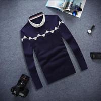 beige turtleneck sweater - Mens Luxury Sweaters Fake two V Neck Knitted Sweater Men Winter Pullover Turtleneck Fashion Men