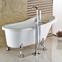 bath tub stand - New Chrome Floor Mount Clawfoot Bath Tub Filler Faucet Handshower Free Standing Single Handle