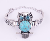antique owl jewelry - New Vintage Animal Owl Jewelry Antique Silver Plated Turquoise Owl Bracelet Crystal Bohemian Jewelry style CC666