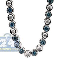 bezel necklace white gold - NEW K White Gold ct Blue Diamond Mens Bezel Chain Necklace Inches
