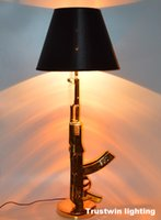 arts reading - Foyer reading room AK47 gun table lamp bedside modern golden gun table light bedroom silver desk lamp