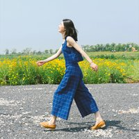 Wholesale Wide leg trouser suit fashion Japanese ladies slim summer dress new students plaid waistcoat two piece boom