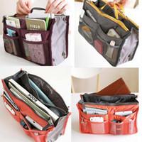 Wholesale multifunctional women storage cosmetic bag Makeup Bag Purse ipad ipod Phone Organizer lady fashion bag in bag Sundry Bags Zipper Tidy Bag