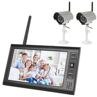 Wholesale 7 inch Digital Wireless Video Baby Monitors CH Quad DVR Security System with IR Night Light Cameras ACA_040
