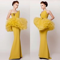 art deco bird - Azzi Osta Mermaid Evening Dresses Yellow Sleeveless Tiered Tulle Trumpat Prom Gowns Sweep Train Bird Embroidery Hot Formal Party Dress