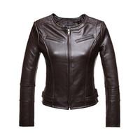 Wholesale Genuine Leather Jacket Women Sheepskin fashion brief O Neck Jaqueta De Couro Womens Coats And Jackets Winter Black Brown