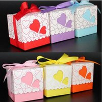 baby shower card box - 100pcs Pink Purple Bule Yellow Orange Red Double Heart Gift Candy Boxes Wedding Favors and Gifts Baby Shower Party Decoration