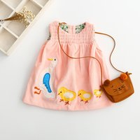 baby girl chickens - New Arrival Fall Baby Girls Ruffles Cartoon Dress Boat Neck Solid Color Embroidered Cute Chicken Girls Dress