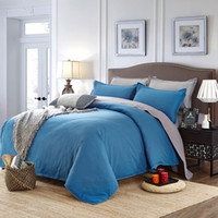 Wholesale Blue Gray High end Aloe Cotton Reactive Printing Solid Fashion Bedding Set PC FULL Size