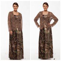 autumn trees pictures - 2016 New Fashion Camo Mother Of Bridal Dresses With Long Sleeves Lace Jacket Floor Length Plus Size Camouflage Mother Formal Wear Real Tree