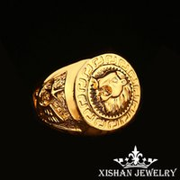 Wholesale Upgrade size Design gold plated Men Rings High Quality hip hop jewelry rings personalized jewelry men face big ring hand