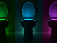 Wholesale Toilet Lamp Motion Activated Toilet Night Light Bowl Bathroom LED Eight Color Lamp Sensor Lights Small Night Light Human Body Induction Lamp