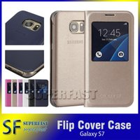 Wholesale For Galaxy S6 Genuine Open Window Case PU Flip Leather Back Cover Case for Galaxy S7 S6 Edge with Retail Package