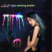 Wholesale Fiber Optic Led Light Up Hair Extension Flash Lighting glowing LED Braid Novelty Decoration for Party Holiday Christmas DHL