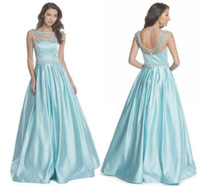 baby seeing - 2017 See Though Neck Prom Dresses Long Baby Blue Bateau Sheer Rhinestone Beaded Beading Draped Pleats Ball Gown Satin Dresses Evening Wear