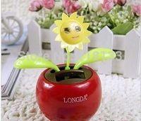 Wholesale Flip Flap Flower swing Plant Cool Car decorating Solar Powered Dancing flowers doll doll car
