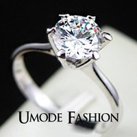 bi rings - ashion Jewelry Rings UMODE Platinum Plated Classic Simple Design Prong Sparkling Solitaire ct Zirconia Diamond forever Wedding Ring bi