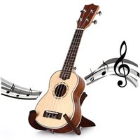 Wholesale 21 Inch Soprano Ukulele Uke Spruce Sapele Four Strings Fret Natural Color Spruce Laser Engraving Rosewood String Instrument
