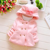 Wholesale 2016 Girl Children Winter Cotton Coat Long Sleeve Solid Minnie Bow Hooded Button Outerwear Fashion Baby Girl Casual Jackets