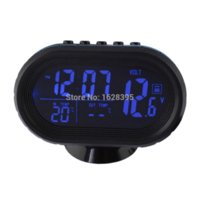 Wholesale ree shipping Black Multi fonction Car Digital Clock with Thermometer and Automotive Voltmeter Calendar Alarms Clock V cars year ca