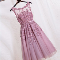 Wholesale Elegant A Line New Arrival Pink Lace Appliques Short Cocktail Dresses Dresses Robe De Soiree Courte Evening Gown