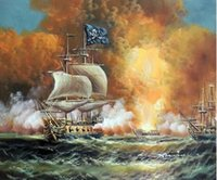 battle boat - Pirate Ship Naval Cannon Sea Battle Boat Caribbean Pure Hand Painted Seascape Art Oil Painting Canvas any customized size accepted John