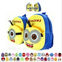 batman book bag - Kids Pikachu Minion Plush Backpack Spiderman Batman School Bags Superman Mickey Book Bag Minnie Pooh Stuffed Doll Toys Monster Bag B807