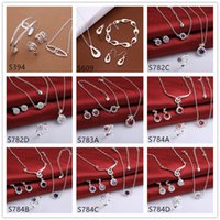 Wholesale Women s wedding sterling silver jewelry sets sets a mixed style EMS37 fashion gemstone Necklace Bracelet Earring Ring jewelry set