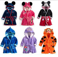 bath rob - 2016 New Cartoon Baby Bathrobe Nightgowns Kids Pajamas Mickey Minnie Bath Robe Baby Homewear Boys Girls Hooded Rob