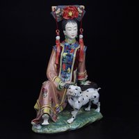 ancient figurines - Painted Porcelain Antiques Statues Marvel for Decoration Chinese Lady Figurine Fine Ceramic Ornament Ancient Sculpture Crafts Christmas Gift