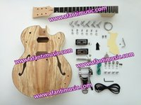 Wholesale Hot Afanti Music Hollow body style Spalted Maple top electric guitar kit AHB