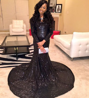 2016 Sexy Little Negro mangas largas Lentejuelas sirena vestidos de noche Escote profundo tribunal tren vestidos de noche de las mujeres vestidos de baile PD83