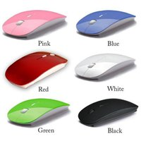 Wholesale Ultra Thin USB Optical Wireless Mouse G Receiver Super Slim Mouse For Computer PC Laptop Desktop Candy color
