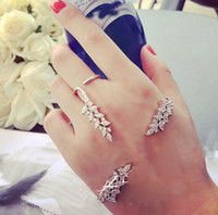 Wholesale Fashion Silver Tone Crystal Leaf Open Palm Bracelet Ring Jewelry Set Women Wedding Jewelry Set Set
