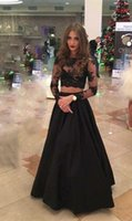 Wholesale Cheap Black Lace Satin Illusion Scoop Neck A Line Long Sleeve Two Piece Prom Evening Dresses